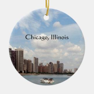 Recuerdo del verano de Chicago… Adorno Navideño Redondo De Cerámica