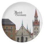 Recuerdo del viaje de Munich Alemania Platos Para Fiestas
