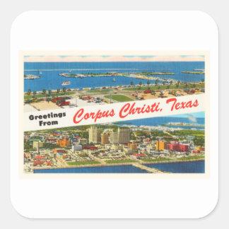 Recuerdo del viaje del vintage de Corpus Christi Pegatina Cuadrada