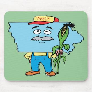 Recuerdo del viaje del vintage del maíz de Iowa IA Tapetes De Ratón