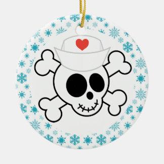 Recuerdo divertido del navidad del oficio de adorno navideño redondo de cerámica