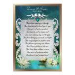 Recuerdo esmeralda del poema de las palomas del invitación 12,7 x 17,8 cm