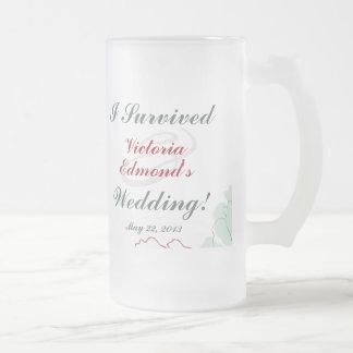 Recuerdo floral abstracto del boda taza cristal mate