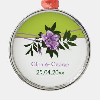 Recuerdo floral color de rosa púrpura salvaje del ornamentos de navidad