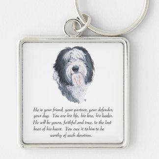Recuerdo inglés viejo del perro pastor - varón llaveros