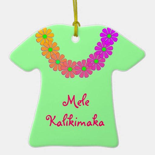 Recuerdo Mele Kalikimaka del ornamento de la Adorno Navideño De Cerámica En Forma De Playera