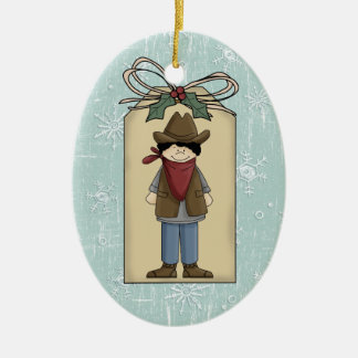 Recuerdo occidental lindo de la etiqueta del adorno navideño ovalado de cerámica