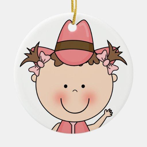 Recuerdo occidental sonriente dulce de la vaquera adorno redondo de cerámica