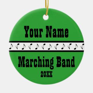 Recuerdo personalizado del ornamento de la música adorno navideño redondo de cerámica