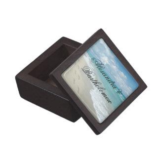 Recuerdo personalizado escena tropical de la playa caja de joyas de calidad