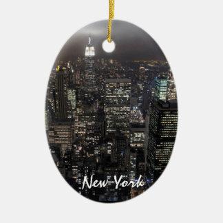 Recuerdo personalizado ornamento de Nueva York Adorno Navideño Ovalado De Cerámica