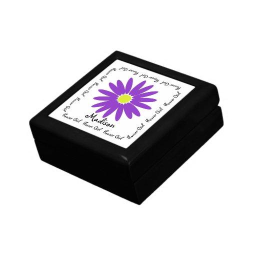 Recuerdo púrpura del boda de la margarita cajas de recuerdo