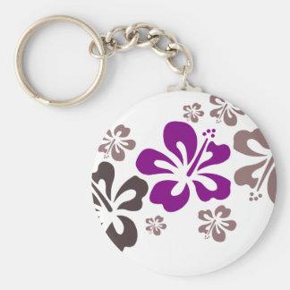 Recuerdo púrpura y gris de Hawaii del hibisco Llavero Redondo Tipo Pin