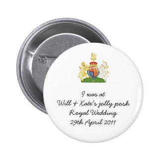 Recuerdo real del boda de la diversión - príncipe  pin redondo de 2 pulgadas