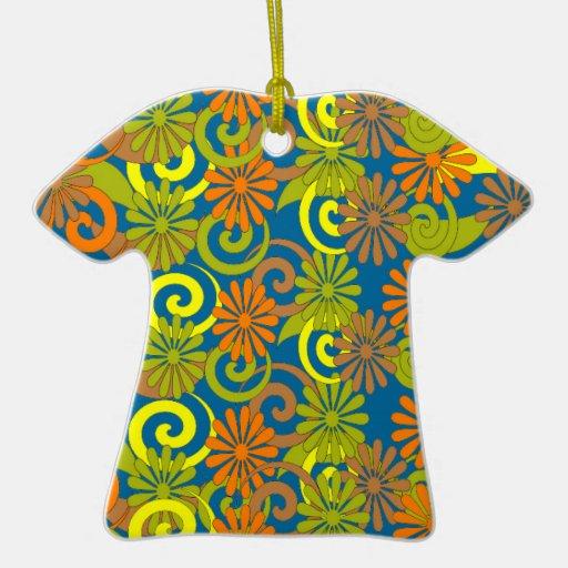 Recuerdo retro del ornamento de la camisa del adorno navideño de cerámica en forma de playera