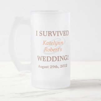 Recuerdo romántico anaranjado del boda taza cristal mate