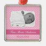 Recuerdo rosado de la foto del bebé ornamentos de reyes