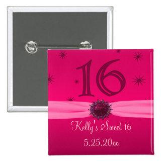 Recuerdo rosado feliz del cumpleaños 16 pin cuadrada 5 cm