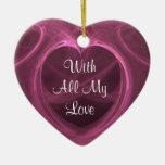 Recuerdo rosado sedoso del corazón adornos