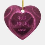 Recuerdo rosado sedoso del corazón ornamentos de reyes magos