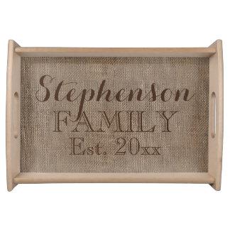 Recuerdo rústico personalizado de la familia de la bandejas