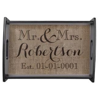 Recuerdo rústico personalizado del boda de la bandejas