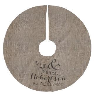 Recuerdo rústico personalizado del boda de la falda para arbol de navidad de poliéster