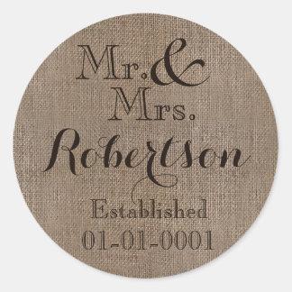 Recuerdo rústico personalizado del boda de la pegatina redonda