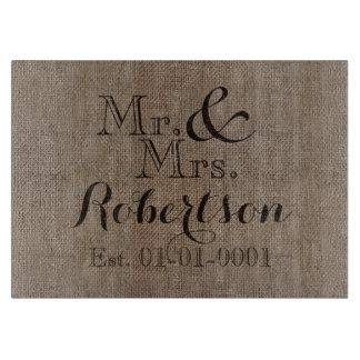 Recuerdo rústico personalizado del boda de la tabla para cortar
