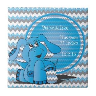 Recuerdo tonto azul divertido del elefante de teja