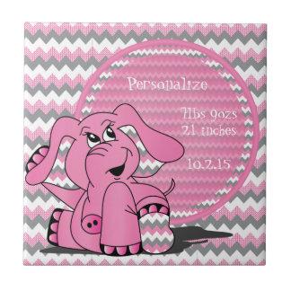 Recuerdo tonto rosado divertido del elefante de azulejo cuadrado pequeño