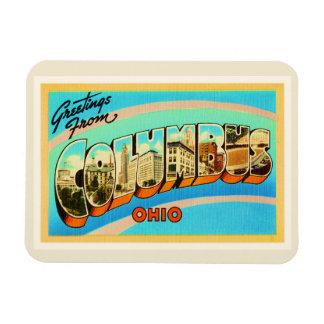 Recuerdo viejo del viaje del vintage de Columbus Imanes De Vinilo