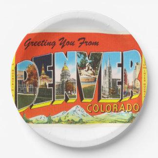 Recuerdo viejo del viaje del vintage de Denver Platos De Papel