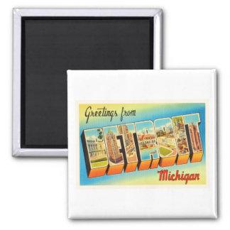 Recuerdo viejo del viaje del vintage de Detroit Imán Cuadrado
