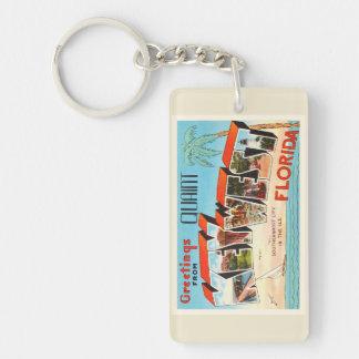 Recuerdo viejo del viaje del vintage de Key West Llavero Rectangular Acrílico A Doble Cara