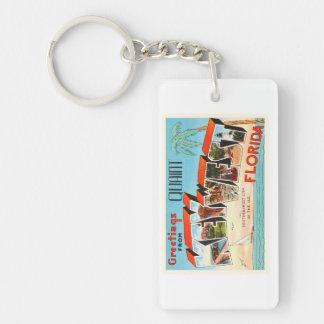 Recuerdo viejo del viaje del vintage de Key West Llavero Rectangular Acrílico A Una Cara