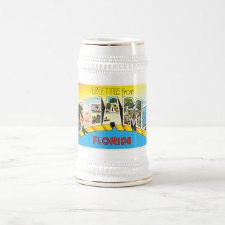 Recuerdo viejo del viaje del vintage de Miami la Jarra De Cerveza