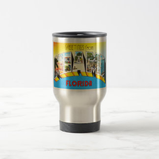 Recuerdo viejo del viaje del vintage de Miami la Taza Térmica