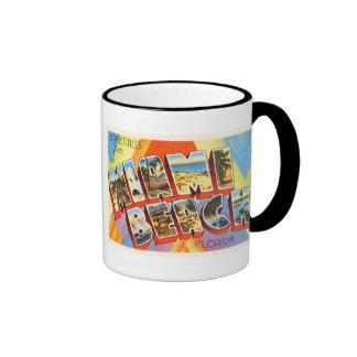Recuerdo viejo del viaje del vintage de Miami Taza De Dos Colores