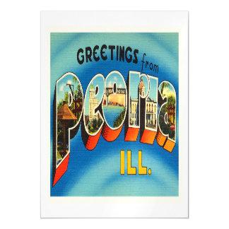 Recuerdo viejo del viaje del vintage de Peoria Invitaciones Magnéticas