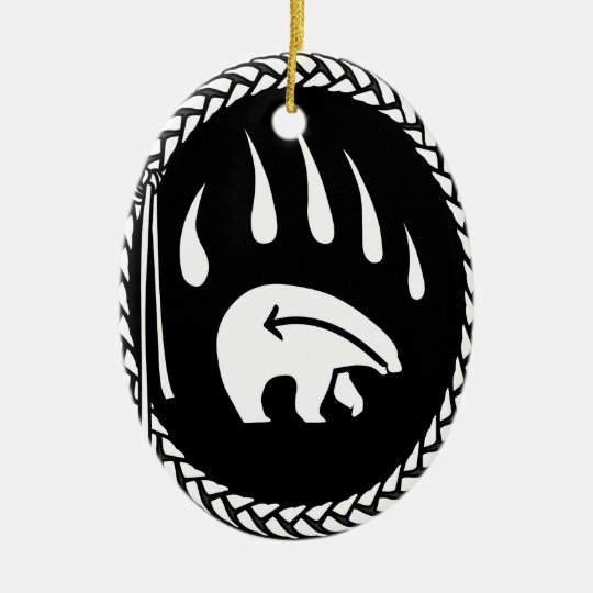 Recuerdo y regalos tribales del oso del ornamento adorno navideño ovalado de cerámica