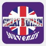 Recuerdos británicos Union Jack del turismo Calcomanía Cuadrada