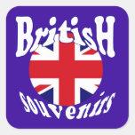 Recuerdos británicos Union Jack del turismo Pegatinas Cuadradases Personalizadas
