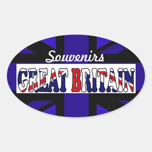 Recuerdos británicos Union Jack del turismo Pegatina Ovalada