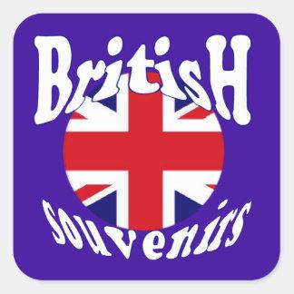 Recuerdos británicos Union Jack del turismo Pegatina Cuadrada