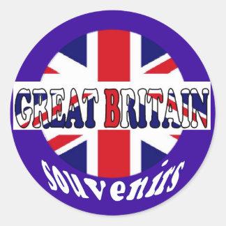 Recuerdos británicos Union Jack del turismo Pegatina Redonda