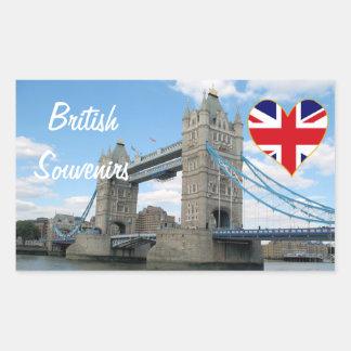 Recuerdos de Británicos del puente de la torre de Pegatina Rectangular