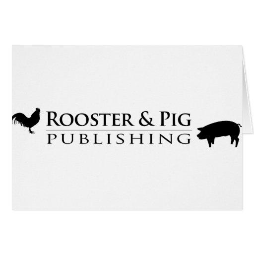 Recuerdos de publicación del gallo y del cerdo tarjeta de felicitación