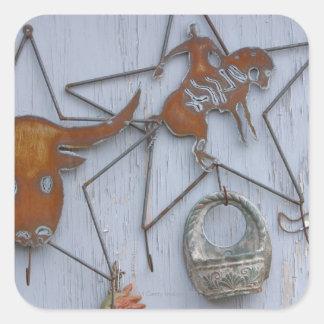 Recuerdos del arte del metal en la pared al aire l calcomania cuadradas