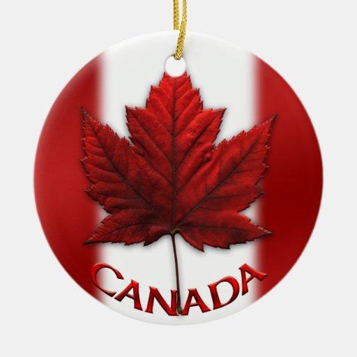 Recuerdos del ornamento de la bandera de Canadá y Adorno Navideño Redondo De Cerámica